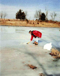 Figure 10: Chopping ice for water sample