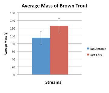 There is no significant difference between the average mass of brown trout in the two streams.