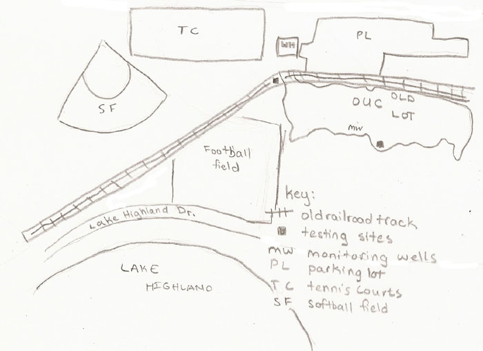 A hand drawn map of the O'Meara Sportsplex.