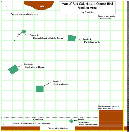 Map of Red Oak Nature Center Bird Feeding Area.