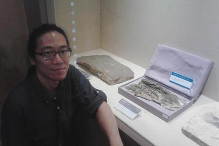 Upon arriving at the Institute of Vertebrate Paleontology and Paleoanthropology in Beijing, Camille and Jack took a tour of the newly renovated Paleozoology Museum of China. Jack is shown here next to the holotype specimen of Hsianwenia wui, a Pliocene fish from the Tibetan Plateau he collected in 2005. These fishes had well-developed and robust skeletons which probably helped them control buoyancy in the evaporative hypersaline lakes on the high plateau. © J. Tseng