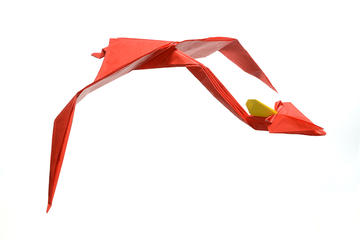 Red Origami Pterosaur