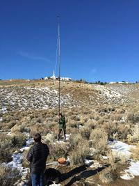 CBC scientist Ned Horning is taking a photo of sagebrush in Nevada to test a prototype pole aerial photography system